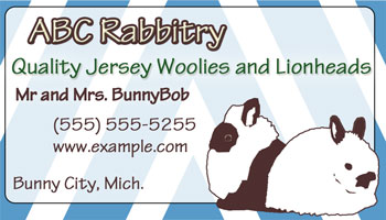 blue stripes rabbitry biz card design