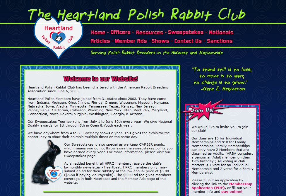 web design for rabbit club